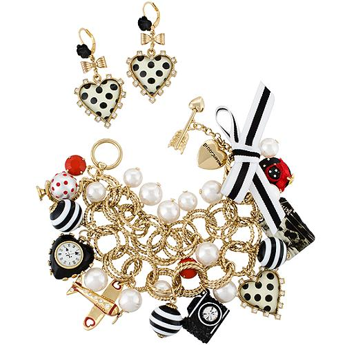 Betsey Johnson Miami Chic Charm Bracelet & Earrings
