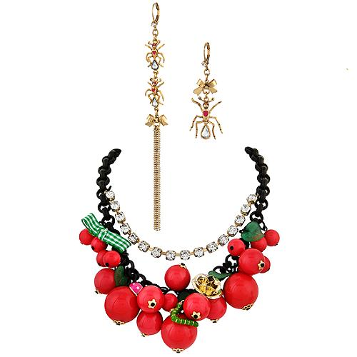 Betsey Johnson Picnic Charm Necklace & Earrings