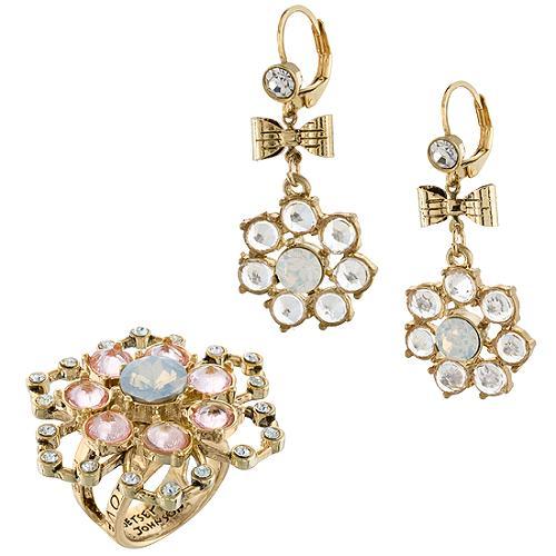 Betsey Johnson School of Dance Flower Ring & Earrings