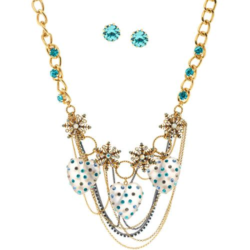 Betsey Johnson Snow Angel Necklace & Earrings