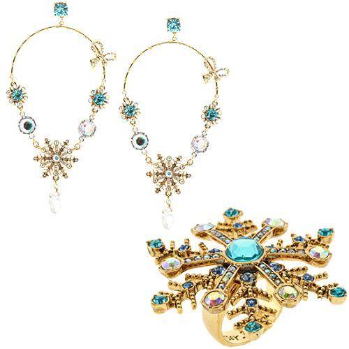 Betsey Johnson Snow Angel Ring & Earrings