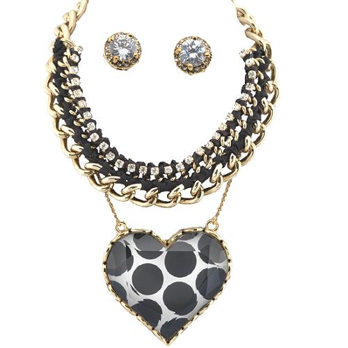 Betsey Johnson Taxi Girl Chunky Chain & Heart Necklace & Stud Earrings