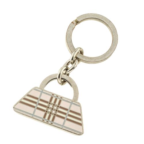 Burberry Engraved Check Key Ring