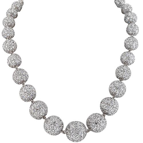 CZ by Kenneth Jay Lane Graduated Pave Ball Necklace