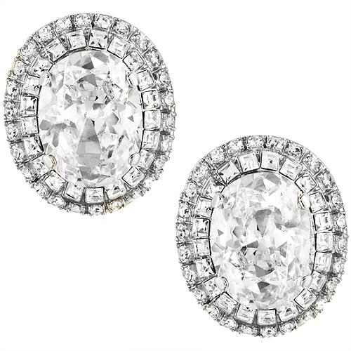 Carolee Lux Oval Button Crystal Earrings
