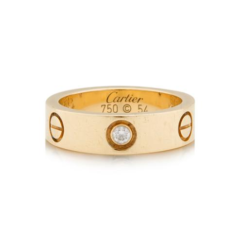 Cartier 18K Yellow Gold 3 Diamond Love Ring - Size 7