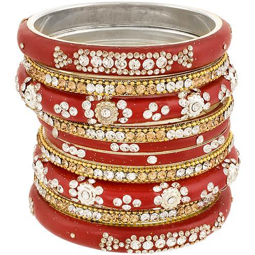 Chamak by Priya Kakkar Set of 10 Red Bangles