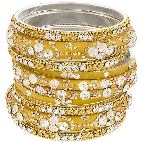Chamak by Priya Kakkar Set of 10 Yellow Bangles