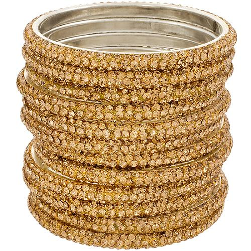 Chamak by Priya Kakkar Set of 12 Gold Bangles