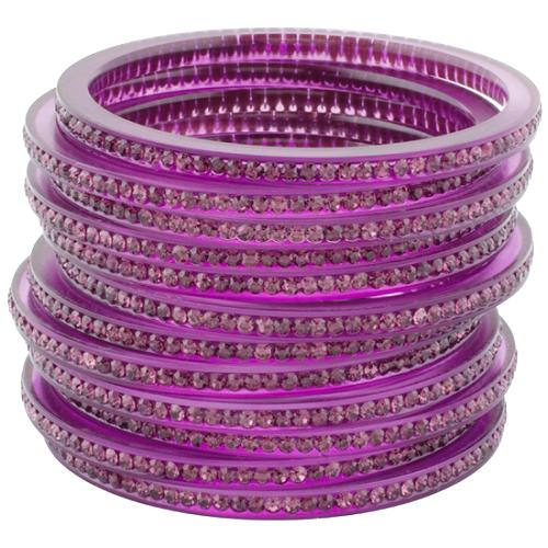 Chamak by Priya Kakkar Set of 12 Purple Bangles