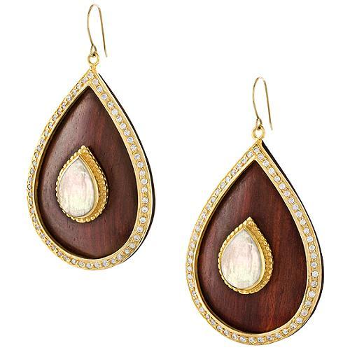 Chamak by Priya Kakkar Wood Tear Drop Earrings