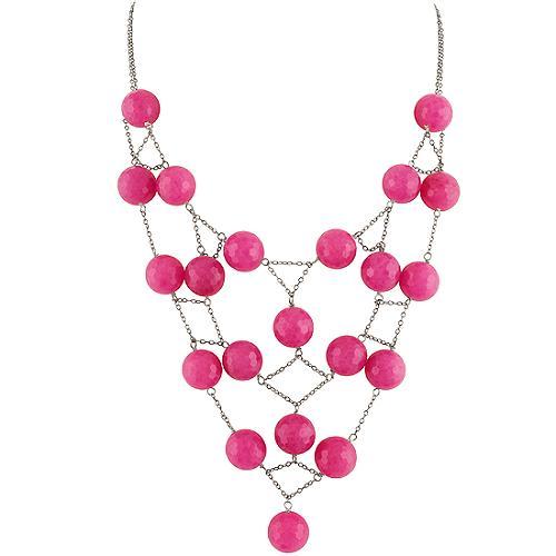Chan Luu Fushia Beaded & Silver Necklace