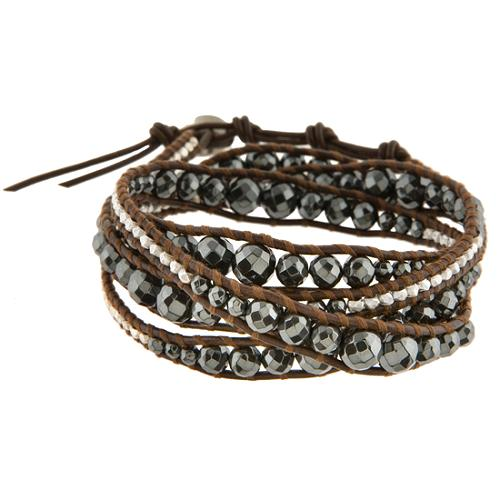 Chan Luu Hematite Multi Wrap Leather Bracelet
