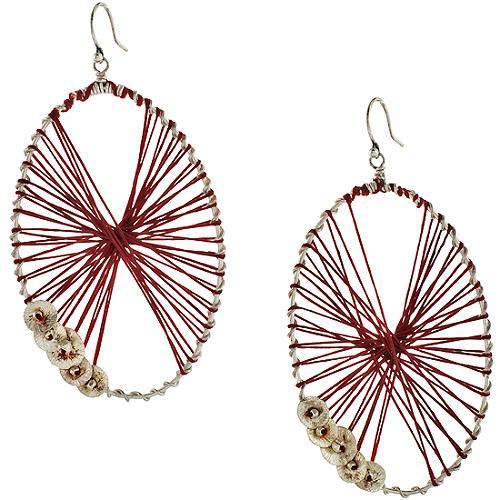 Chan Luu Red Oval Drop Earrings