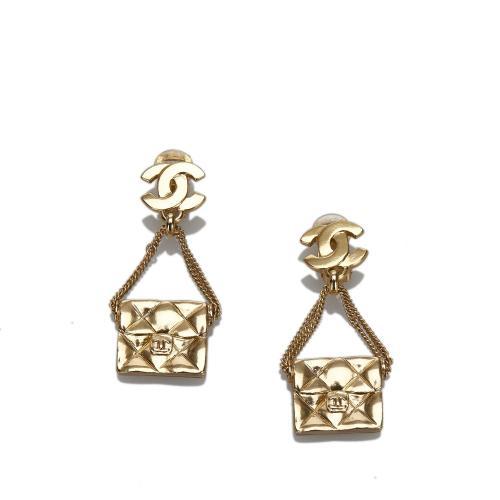 Chanel Bag Motif Clip-on Earrings