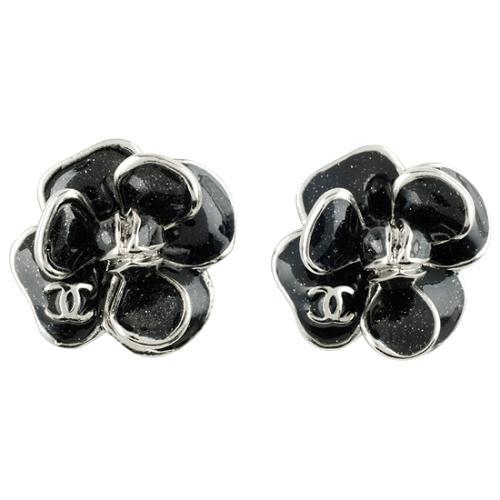 Chanel Black Flower Clip Earrings