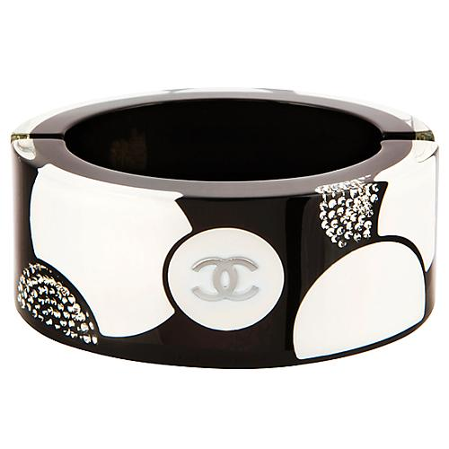 Chanel Black & White Circle Print Lucite Bangle