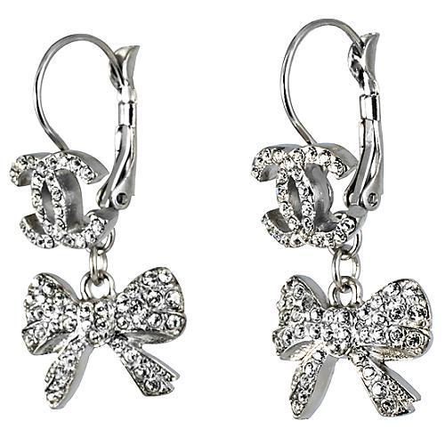Chanel Bow Drop Logo Earrings