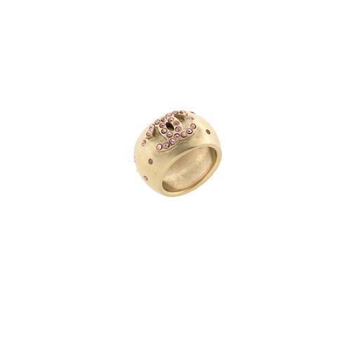 Chanel Brushed Crystal Logo Ring - Size 7 - FINAL SALE