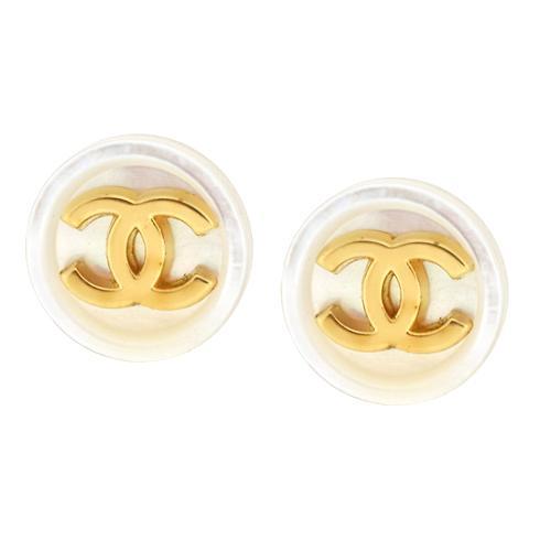Chanel CC Button Earrings