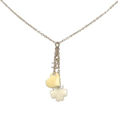 Chanel CC Clover Heart Pendant Necklace