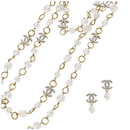 Chanel CC Crystal Drop Earrings and Crystal Beaded Necklace