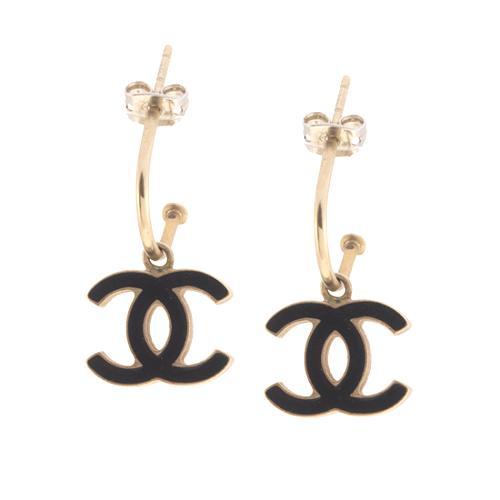 Chanel CC Enamel Post Drop Earrings