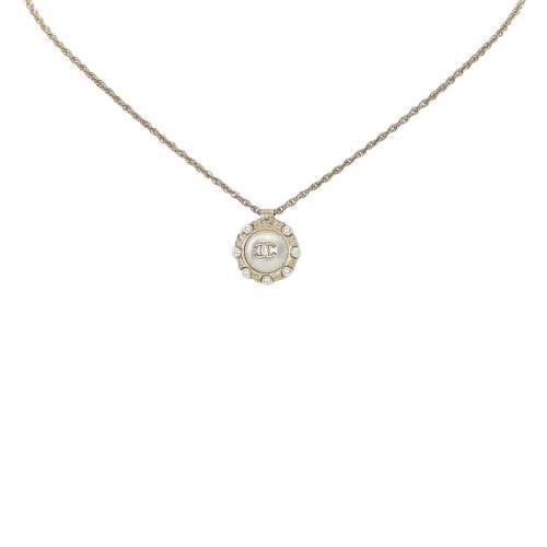 Chanel CC Faux Pearl Pendant Necklace
