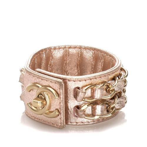 Chanel Lambskin CC Turnlock Leather Cuff