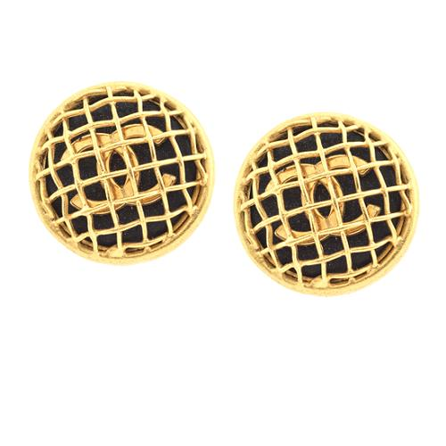 Chanel Caged CC Logo Earrings