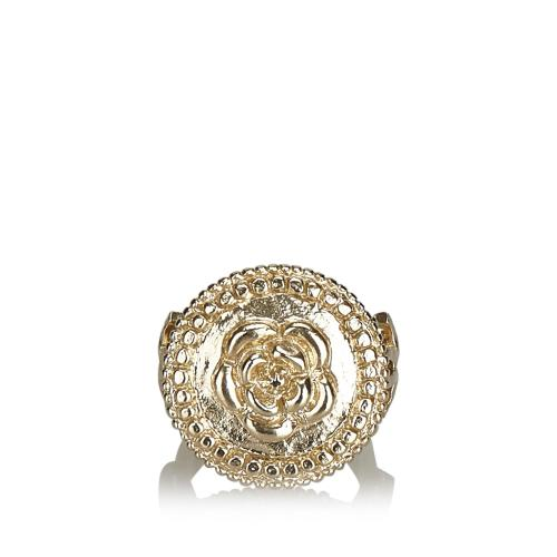 Chanel Camellia Metallic Ring - Size 5