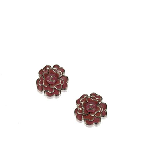 Chanel Camellia CC Clip On Earrings