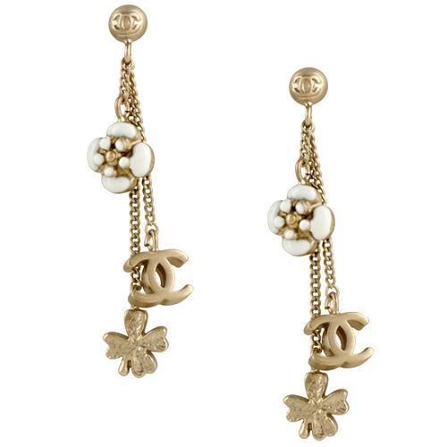 Chanel Chain Flower Charm Earrings