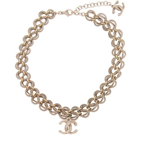Chanel Crystal CC Chain Choker Necklace