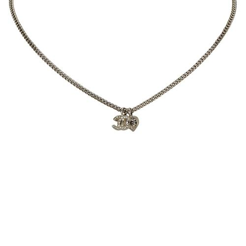 Chanel Crystal CC Heart Necklace