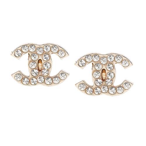 Chanel Crystal CC Logo Post Earrings