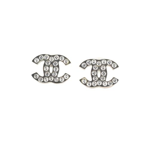 Chanel Crystal CC Logo Post Earrings