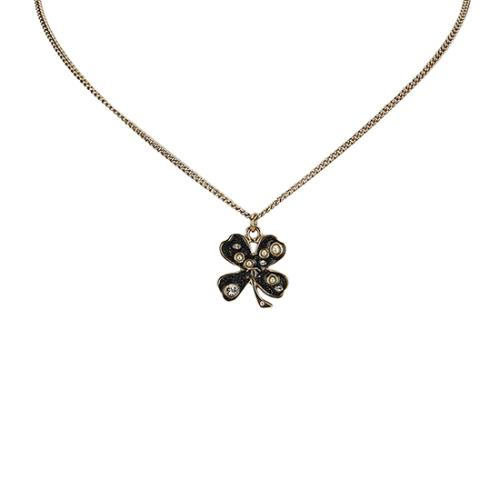 Chanel Crystal Pearl Four Leaf Clover Necklace