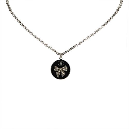 Chanel Crystal Enamel Bow Necklace
