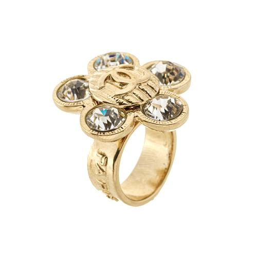 Chanel Crystal Flower Ring - Size 6.5