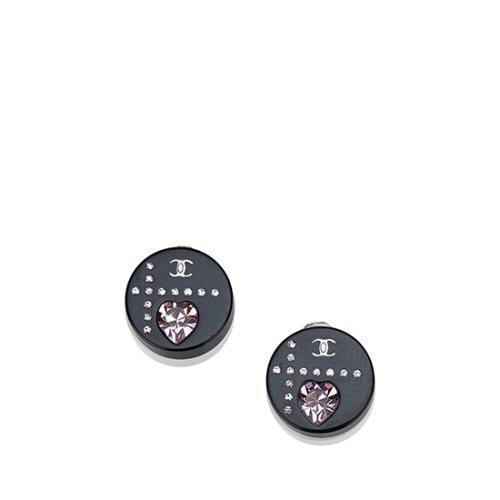 Chanel Crystal Heart Enamel Clip On Earrings
