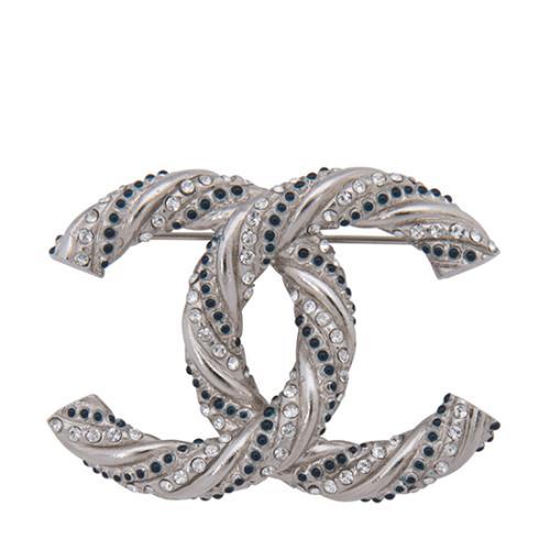Chanel Crystal Twisted CC Brooch