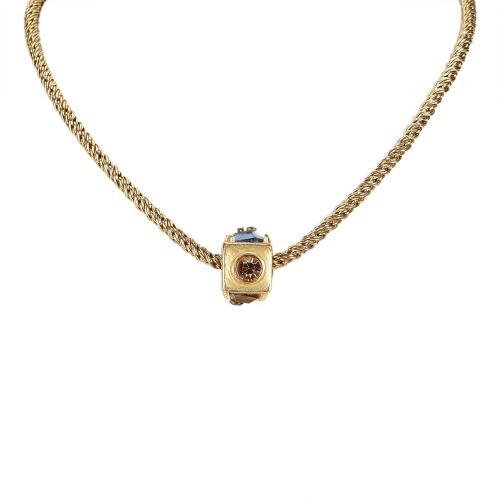 Chanel Cube Rhinestone Studded Necklace