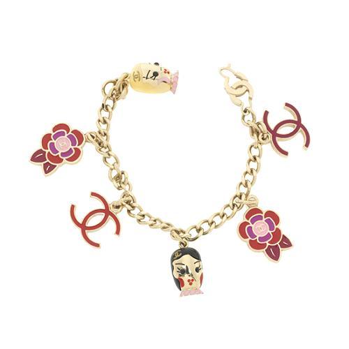 Chanel Enamel Doll Face Charm Bracelet