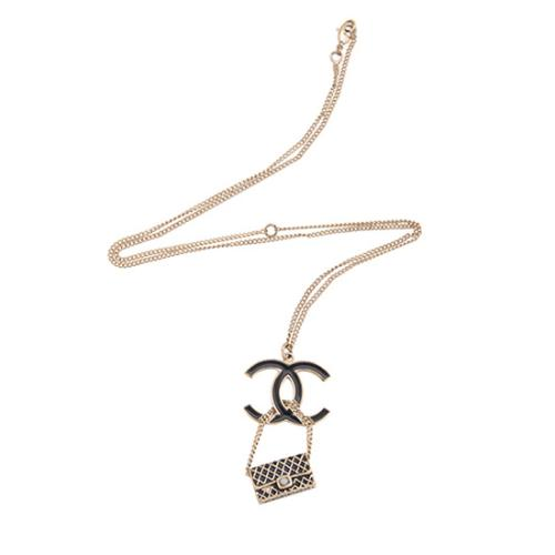 Chanel Enamel Pearl CC Flap Drop Necklace