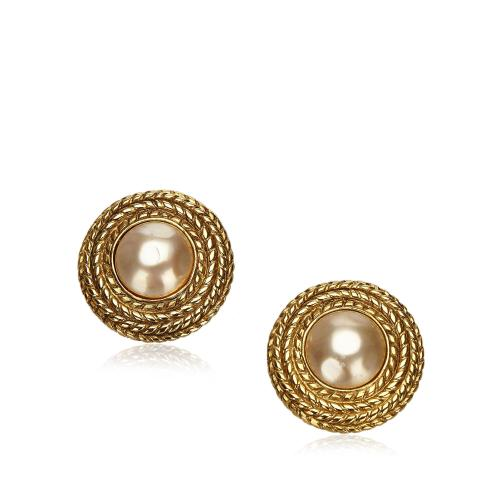Chanel Vintage Faux Pearl Button Clip-On Earrings