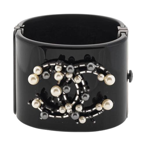 Chanel Faux Pearl and Crystal Large Cuff