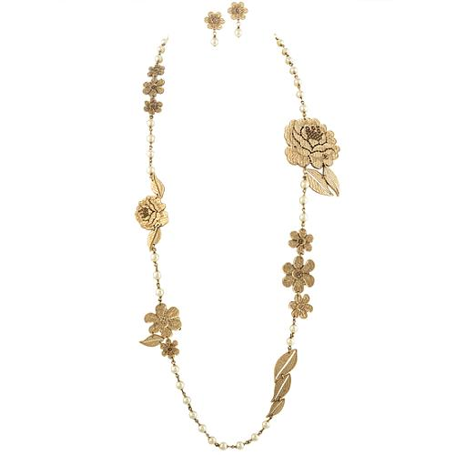 Chanel Gold Rose Necklace & Earring Set