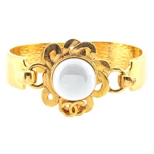 Chanel Gold & Pearl Bangle Bracelet