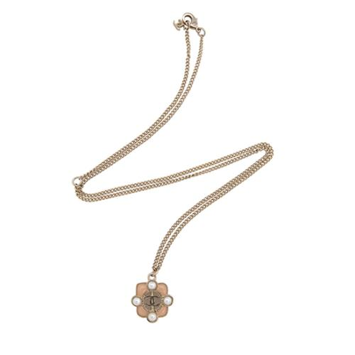 Chanel Gripoix Pearl Crystal CC Pendant Necklace